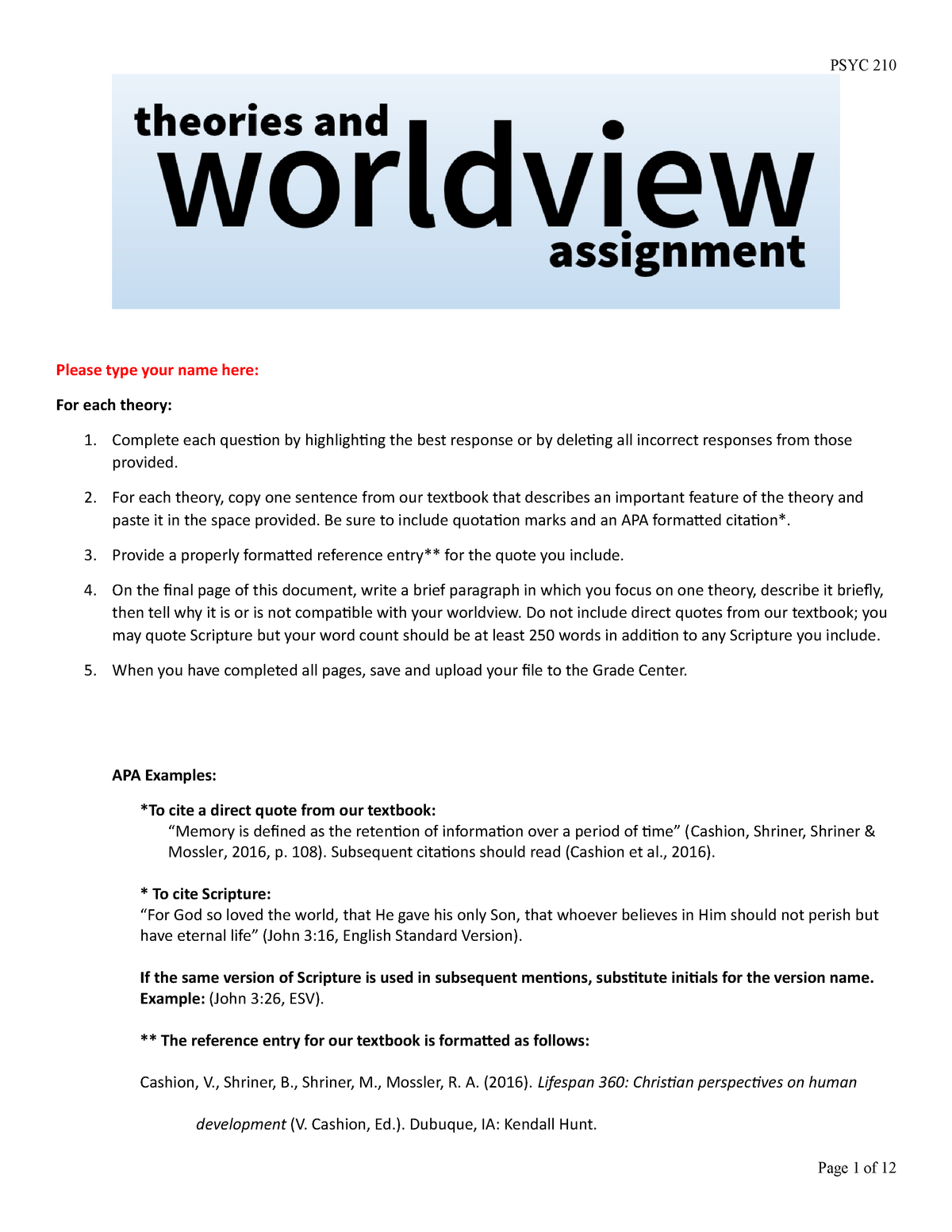 Theories and Worldview Assignment MS Word - PSYC 101