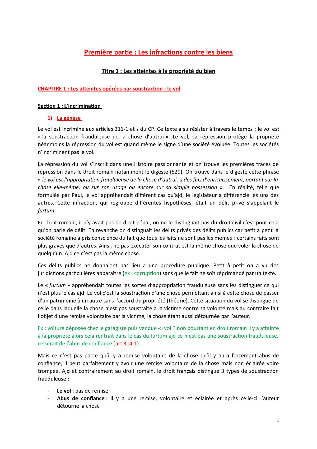 Partie 1 Les Infractions Contre Les Biens Droit Penal Special