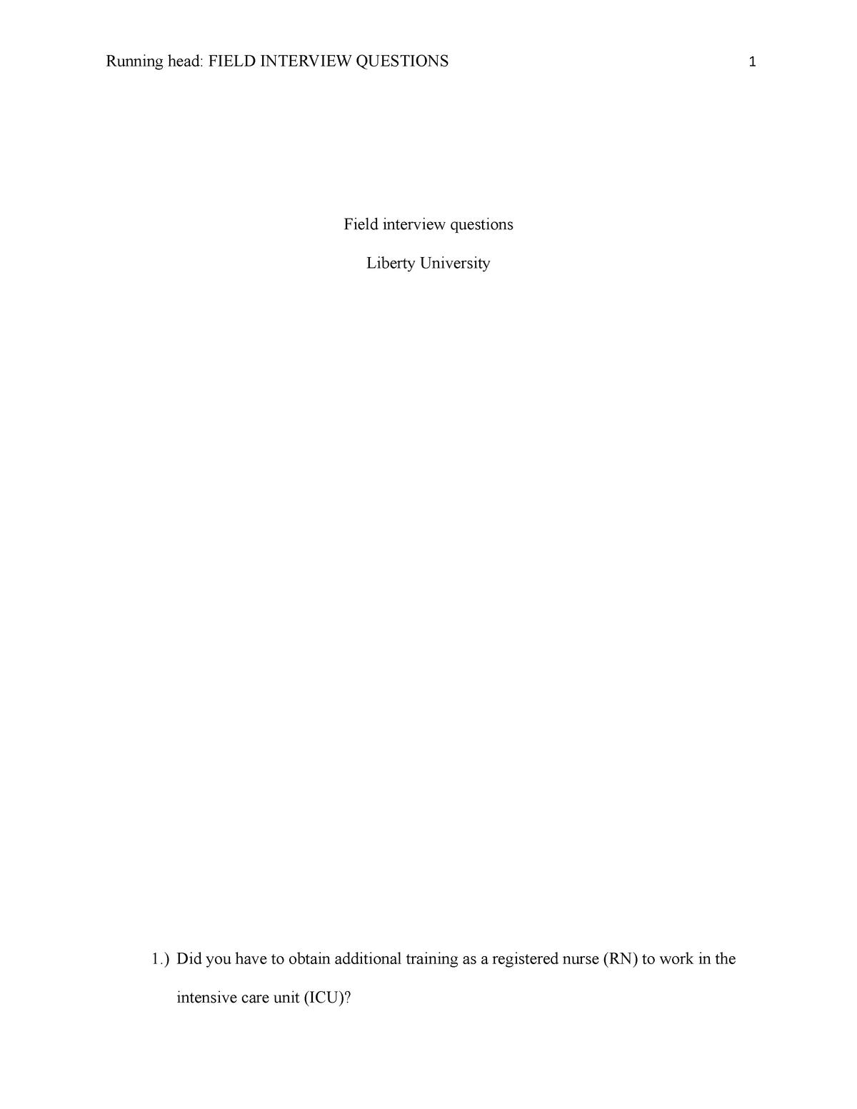 CRIS 606 Field interview questions - CRIS 606 - LU - StuDocu