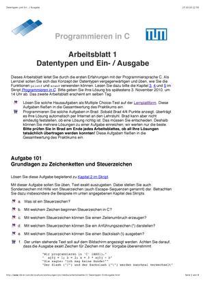 Pflichtaufgaben, Aufgaben - Aufgabenblatt 1 - Datentypen und Ein ...