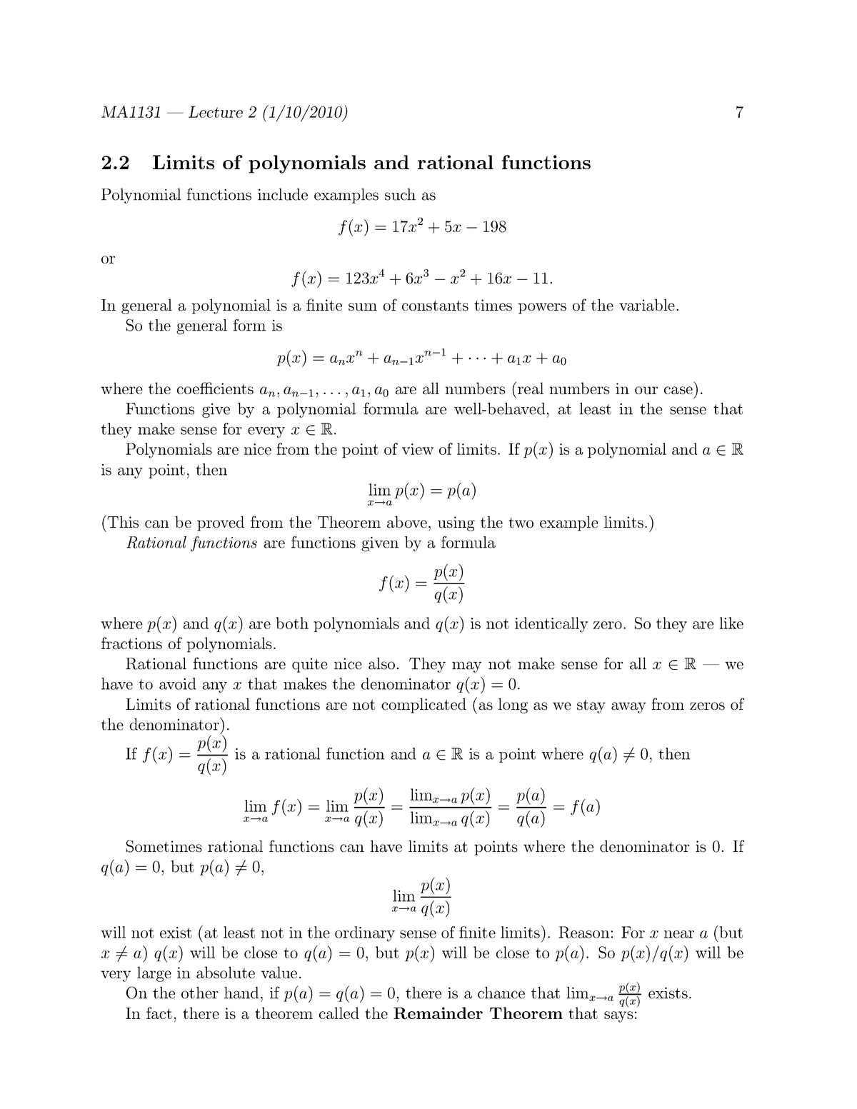 MA1132 2010-2011 Lecture Notes 2 - Limits of polynomials and