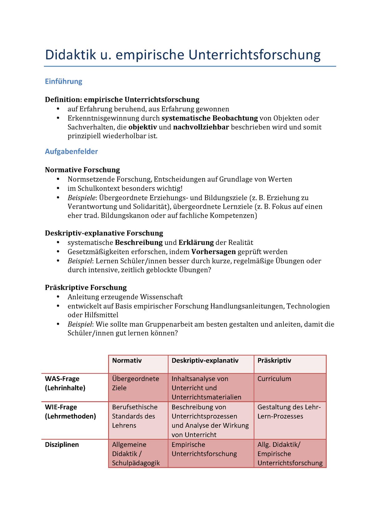 Zusammenfassung Didaktik Und Empirische Unterrichtsforschung Studocu