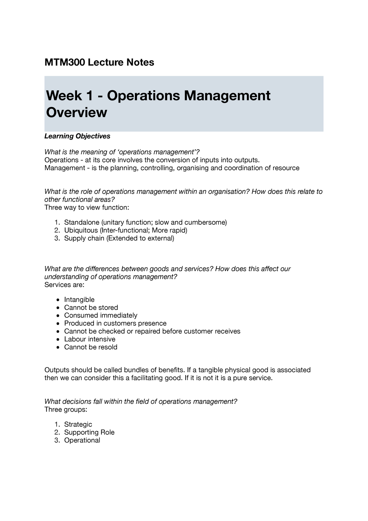 Lecture notes, lectures 1-13 - MTM 300: Managing Operations - StuDocu