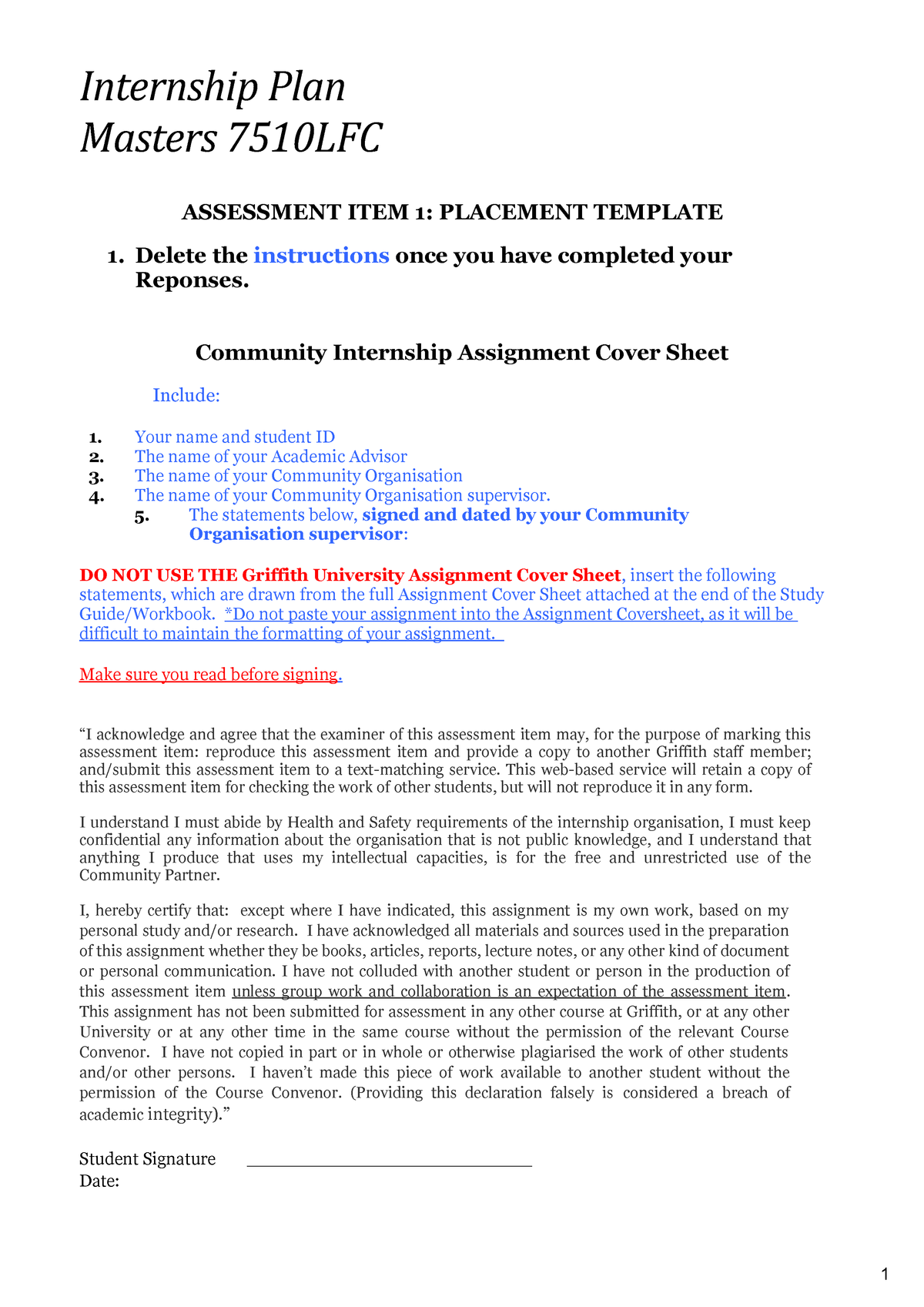 7510LFC Masters Internship Plan template - 3002GIH - StuDocu
