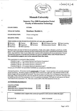 Exam 2008 - FIT1004: Data Management - StuDocu