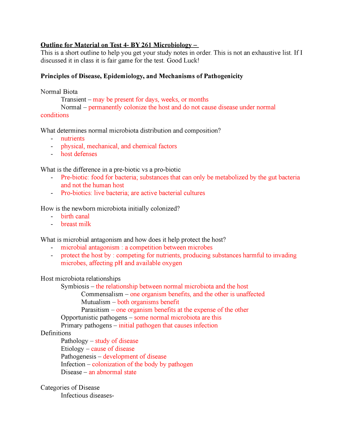 Micro Test 4 Study Guide - BY 261: Intro To Microbiology - StuDocu