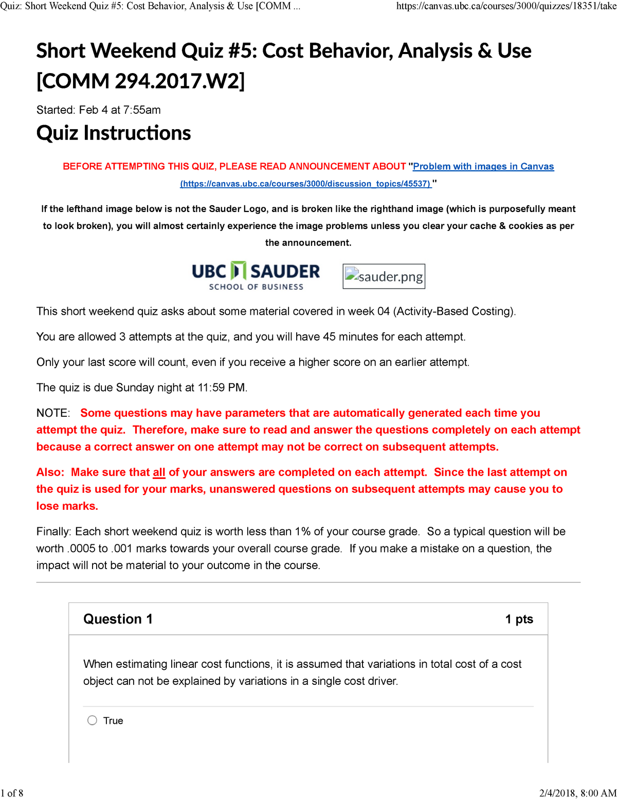 Quiz 5 - n/a - COMM 294: Managerial Accounting - StuDocu