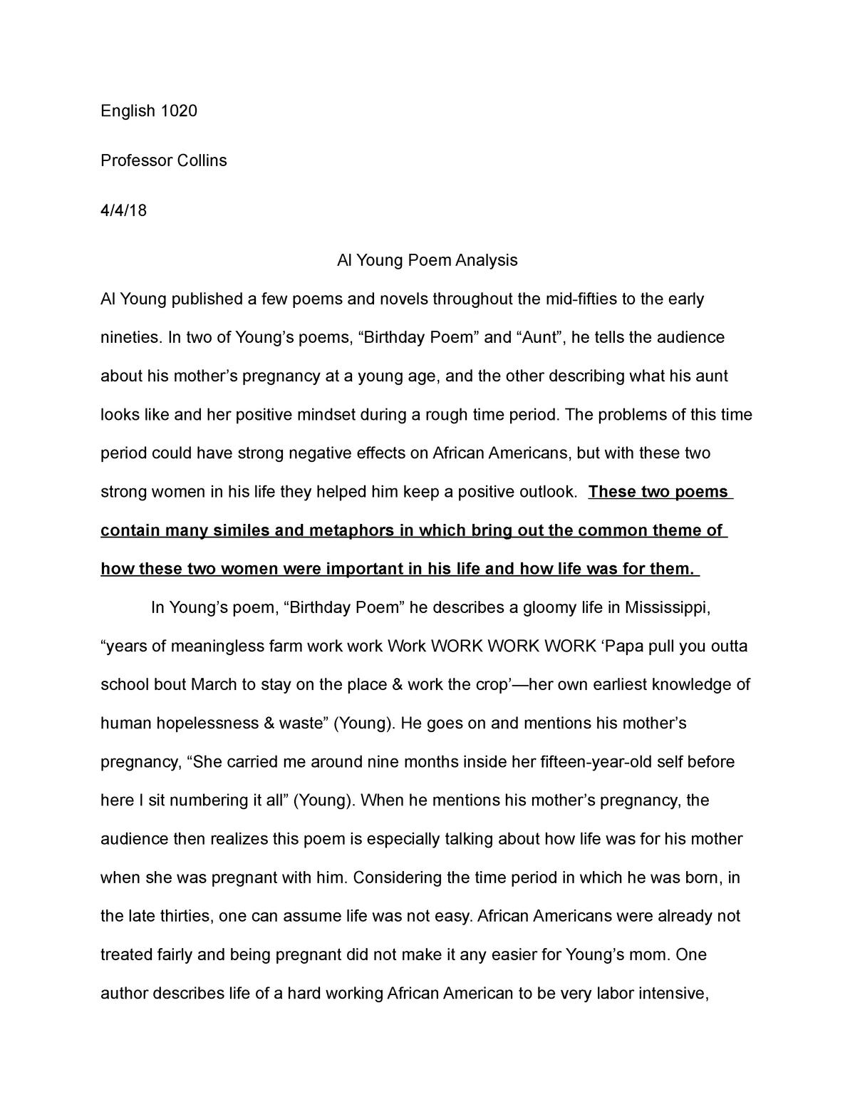 English 1020 Al Young essay - ENGL 1020: English Composition