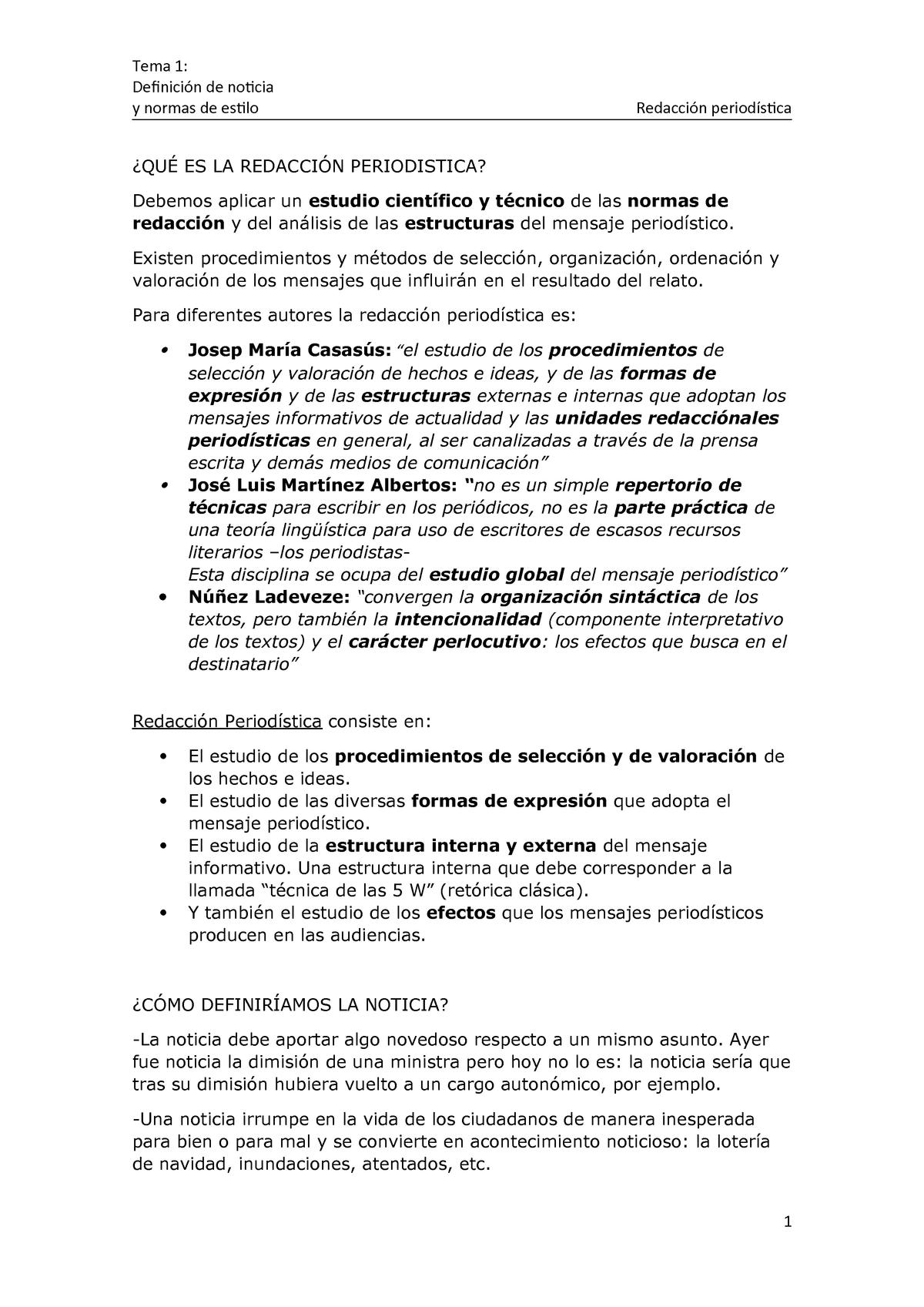 Tema 1 Apuntes 1 Redacción Periodística 2016 Urjc