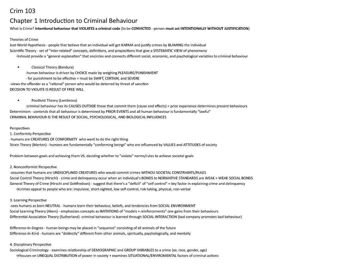 Lecture notes, chapters 1-12 - Crim 103 - SFU - StuDocu