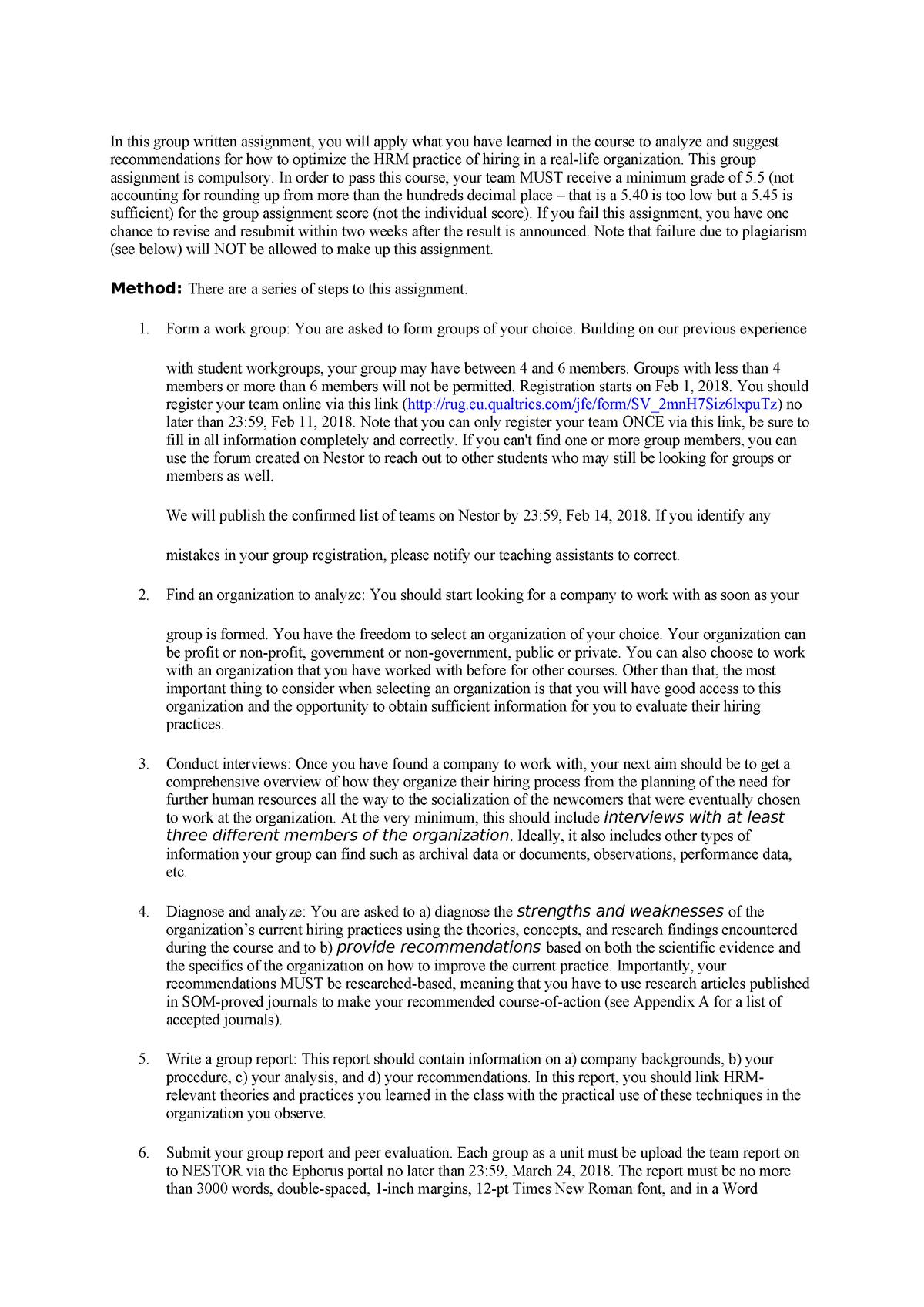 HRM group written assignment - EBB065A05: Human Resource Management