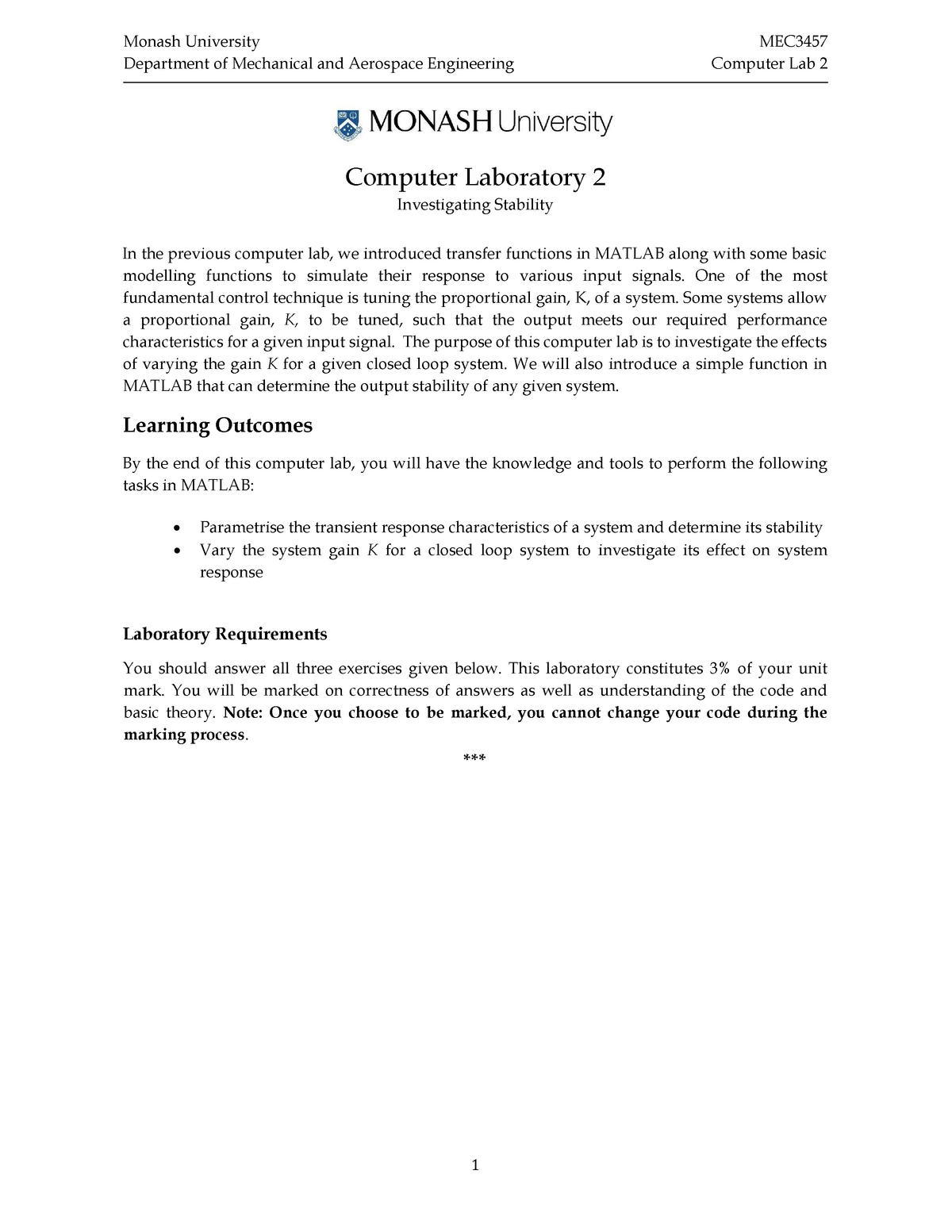 MEC3457 Computer Lab 2 - MEC3457: Systems And Control - StuDocu