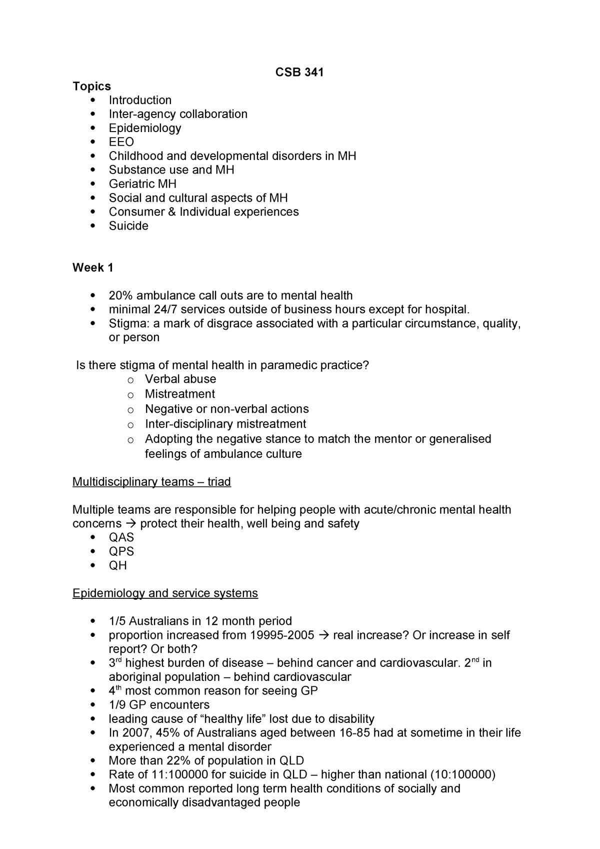 Csb 341 Course Summary Csb341 Qut Studocu
