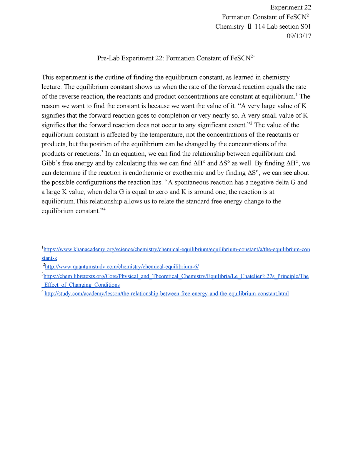 Experiment Pre-lab 22 - CHEM 114: General Chemistry II and