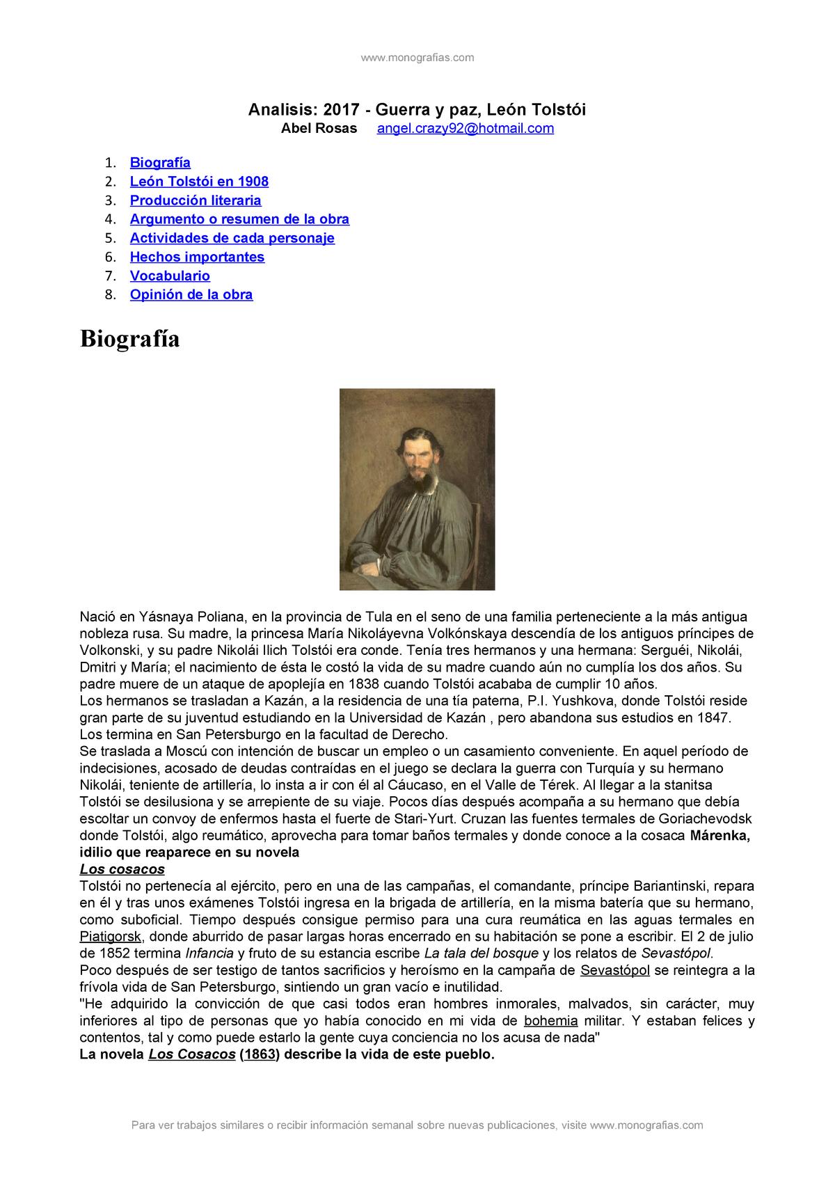 341602030 Analisis Guerra Y Paz Leon Tolstoi Analisis 2017 Guerra Paz Le Tolst Studocu