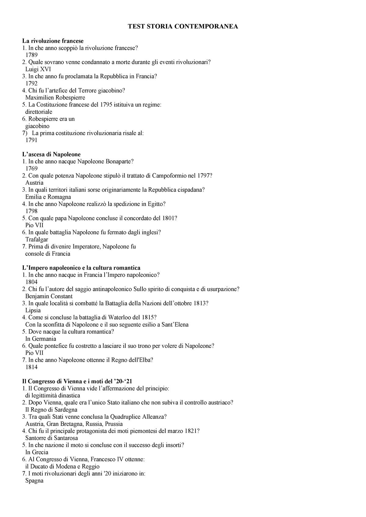 Test Storia Contemporanea Studocu