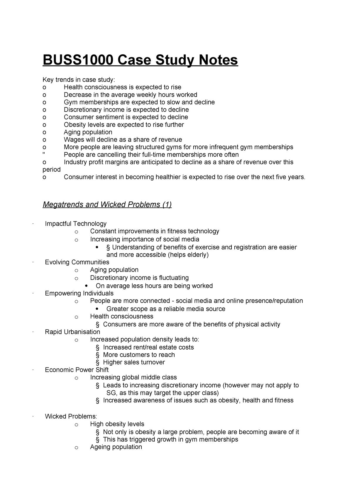 Case Study Notes