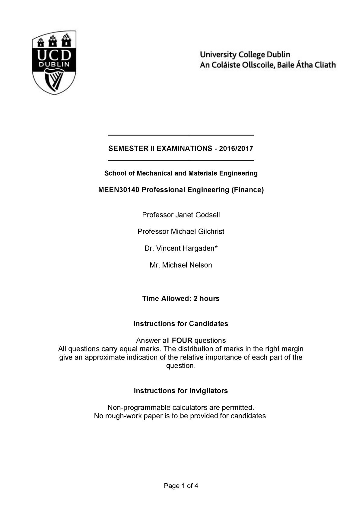 Prova 2017 - MEEN30140 :Professional Eng  - StuDocu