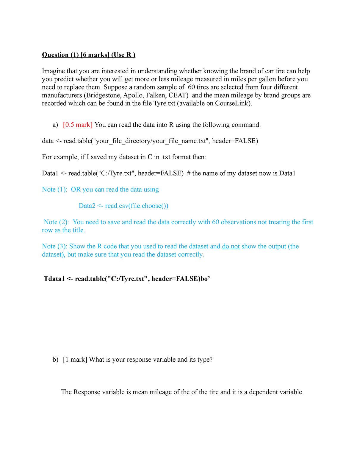 R assignment Question 1 - STAT 2040: Statistics I - StuDocu