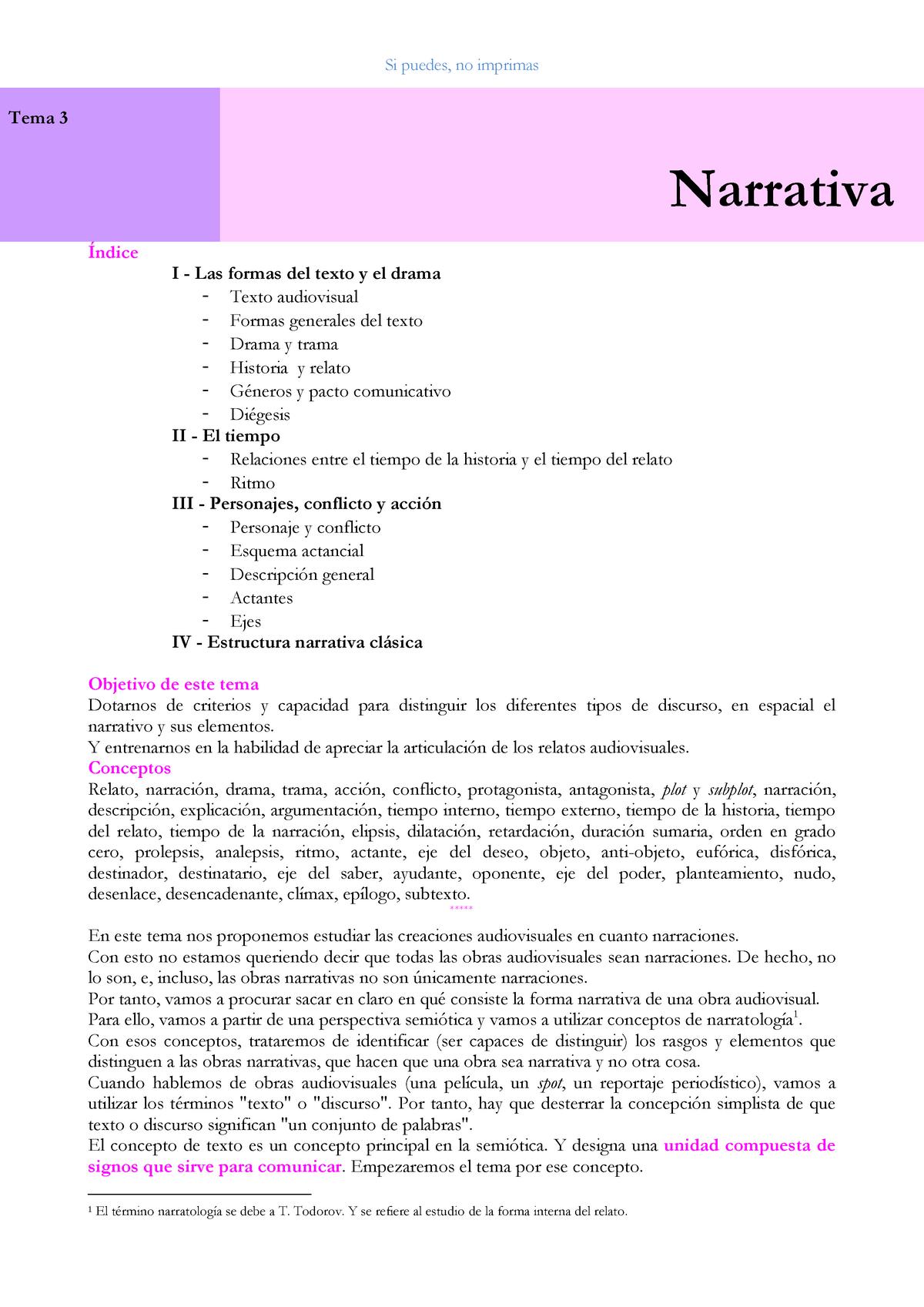 Tema 3 Narrativa Apuntes 3 Proceso Audiovisual 89889