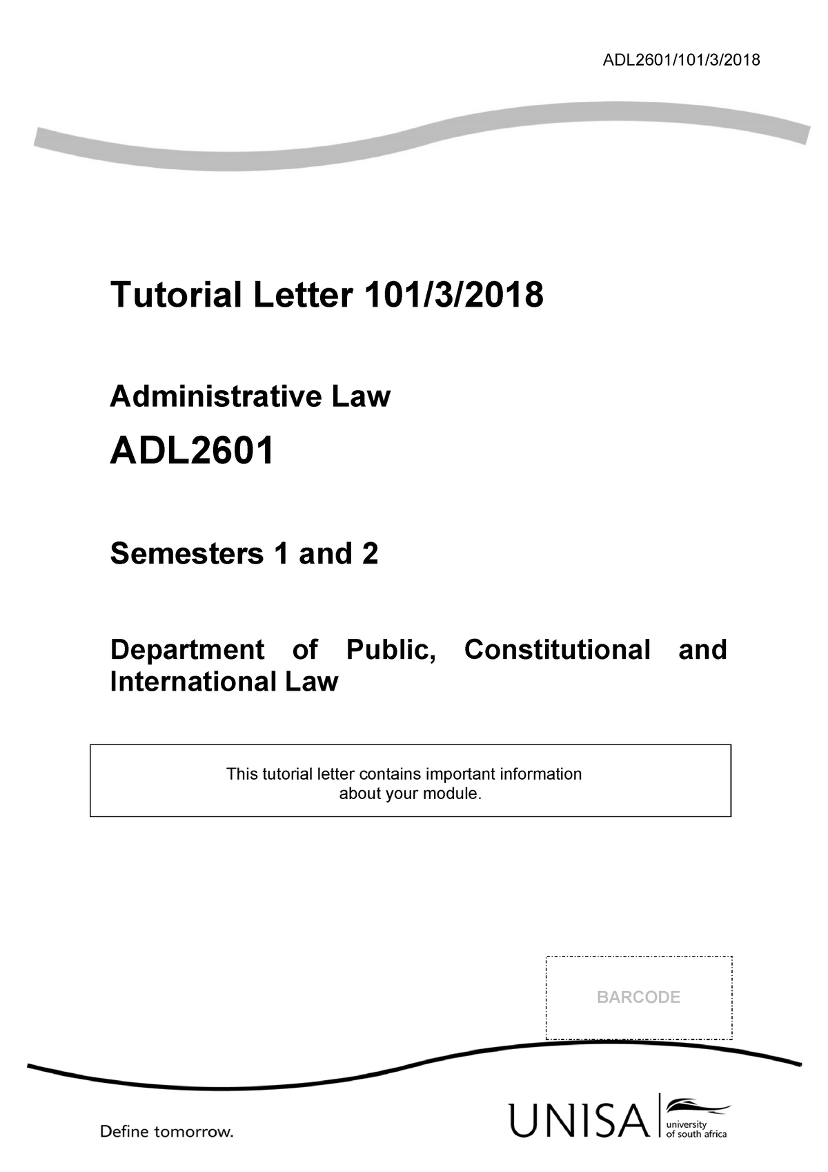 ADL2601 - Tutorial letter - Semesters 1 and 2 -2018 - ADL2601