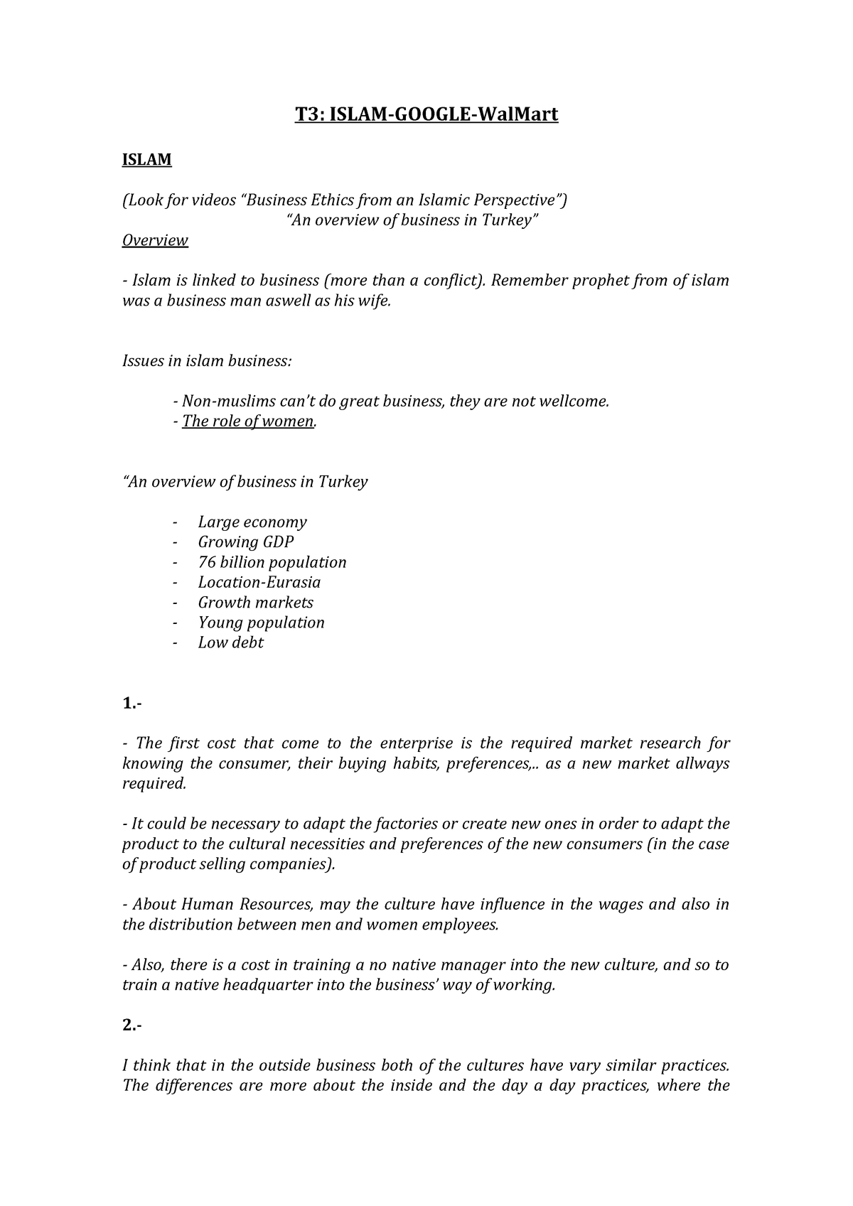 T3 - Answers to the questions for the case study of tutorial