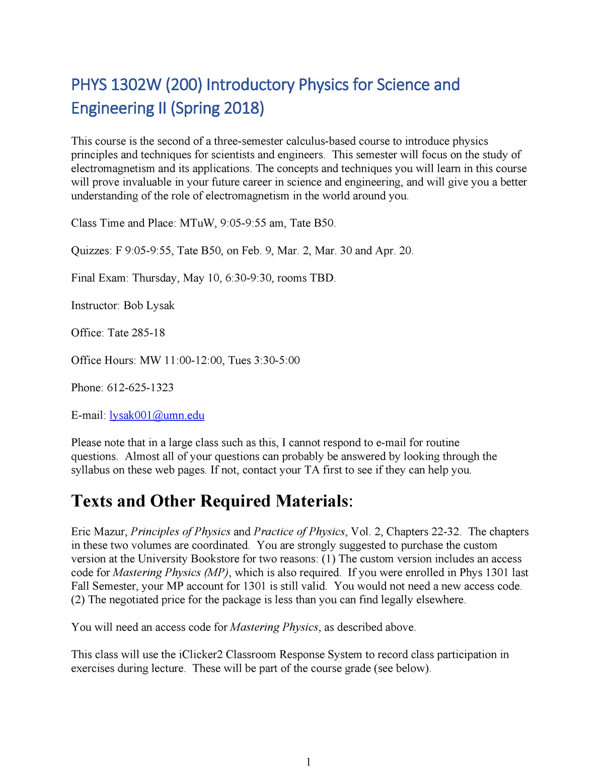 PHYS 1302W Syllabus Spring 2018 - the U of M - StuDocu