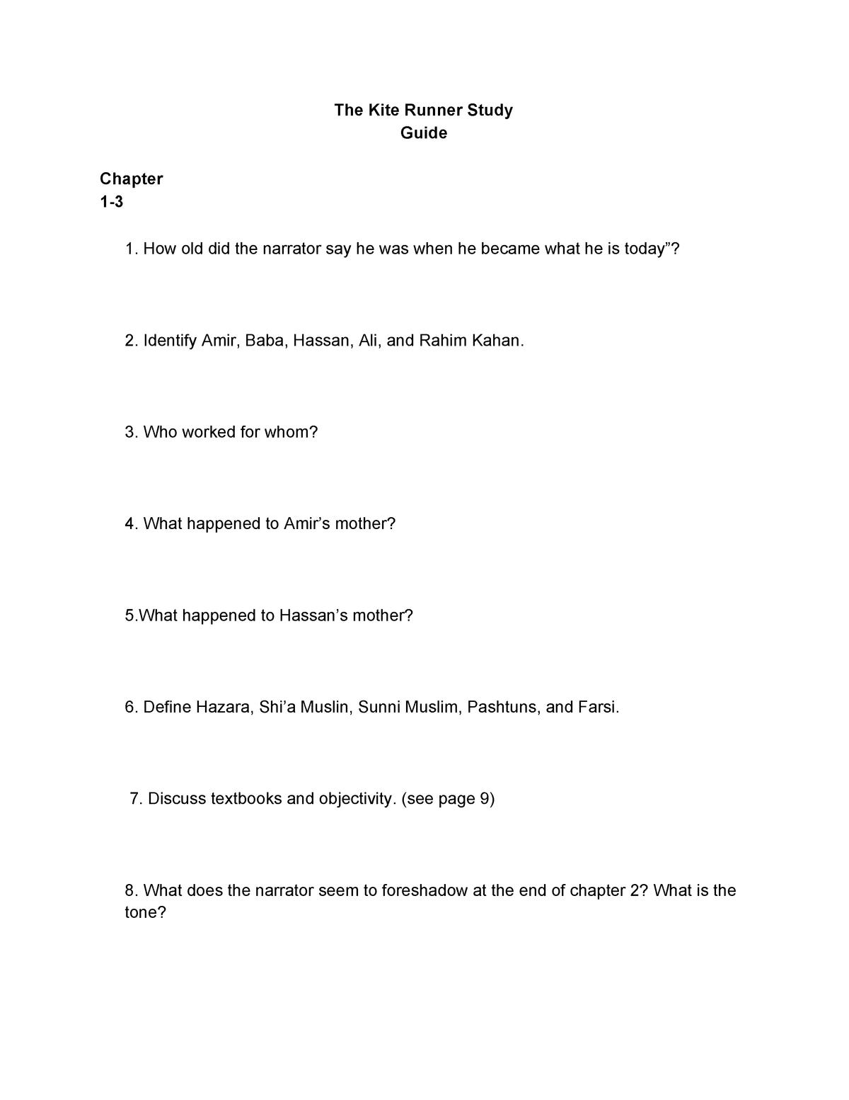 The Kite Runner Study Guide - StuDocu