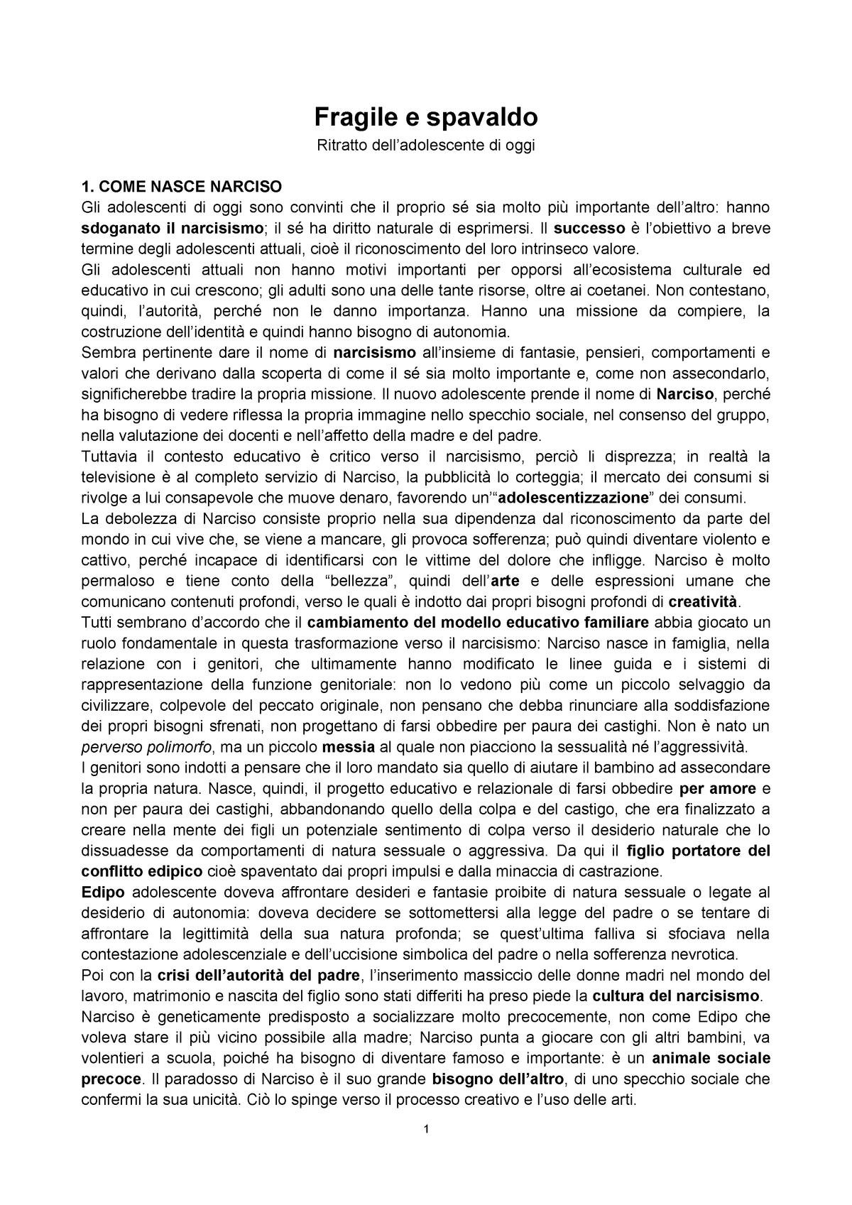 Fragile e spavaldo - Psicologia dello sviluppo 49101 - UniNa