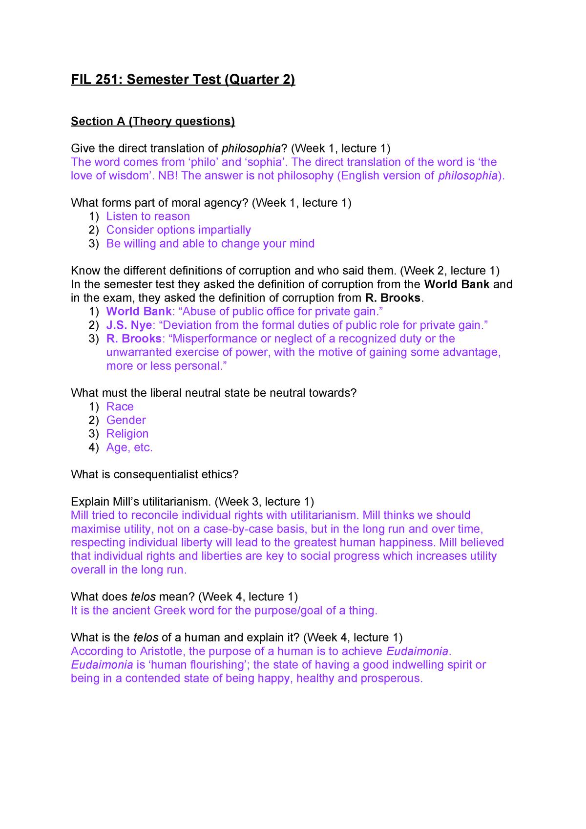 FIL 251 Semester Test (Quarter 2) - FIL 251: Introduction to