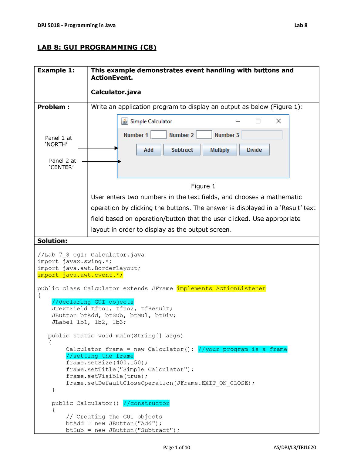 128583 LAB 8 - Learn Chap 8 - Programming in Java - StuDocu