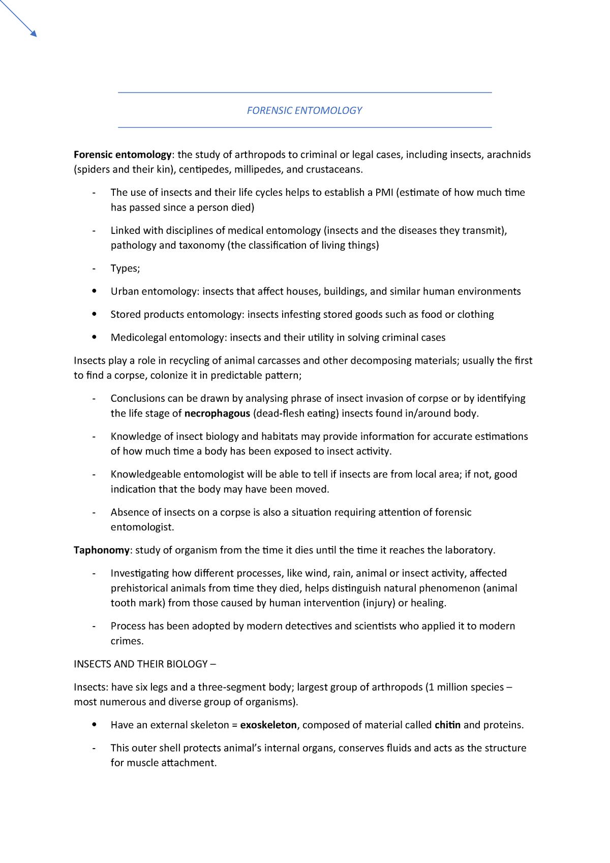 Forensic Entomology - CHE103 - Murdoch - StuDocu