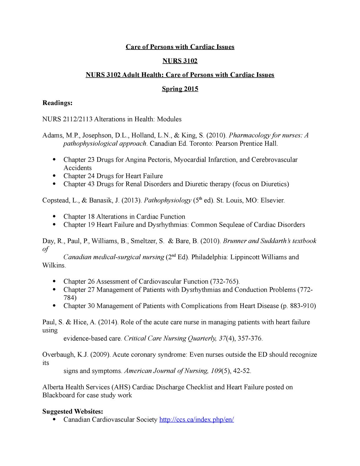 Cardiac - Lecture notes 1 - Nurs 3102 Adult Health - MRU