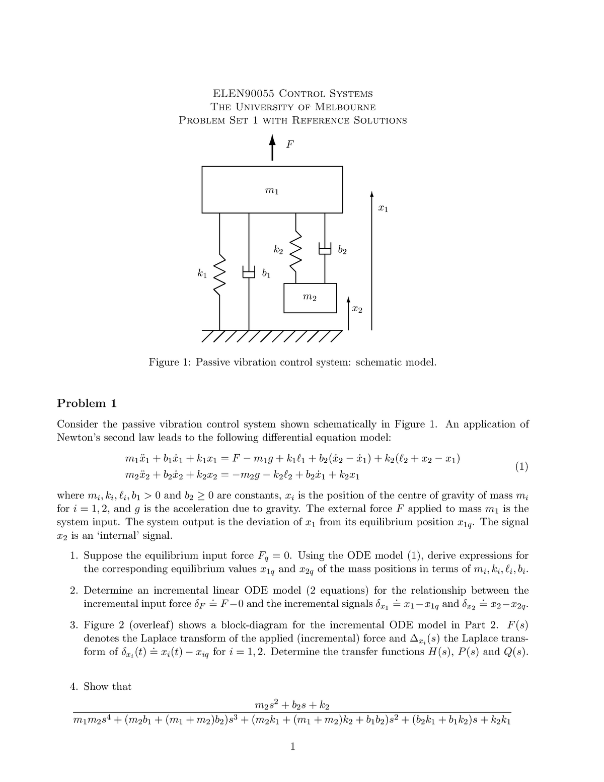 Tutorial work - 1-5 - problem sheets with solutions