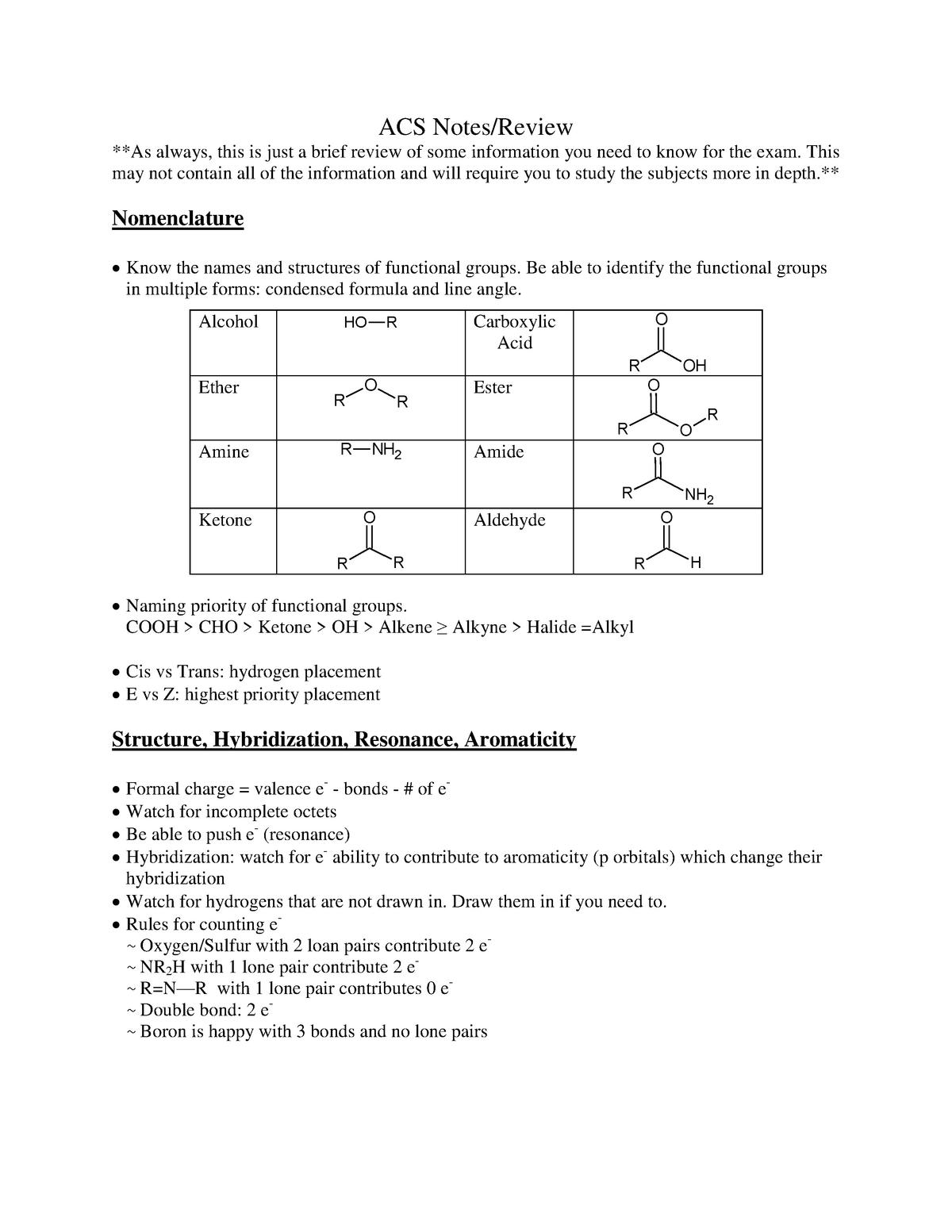 ACS Review - CH 237 Organic Chemistry II - UAB - StuDocu