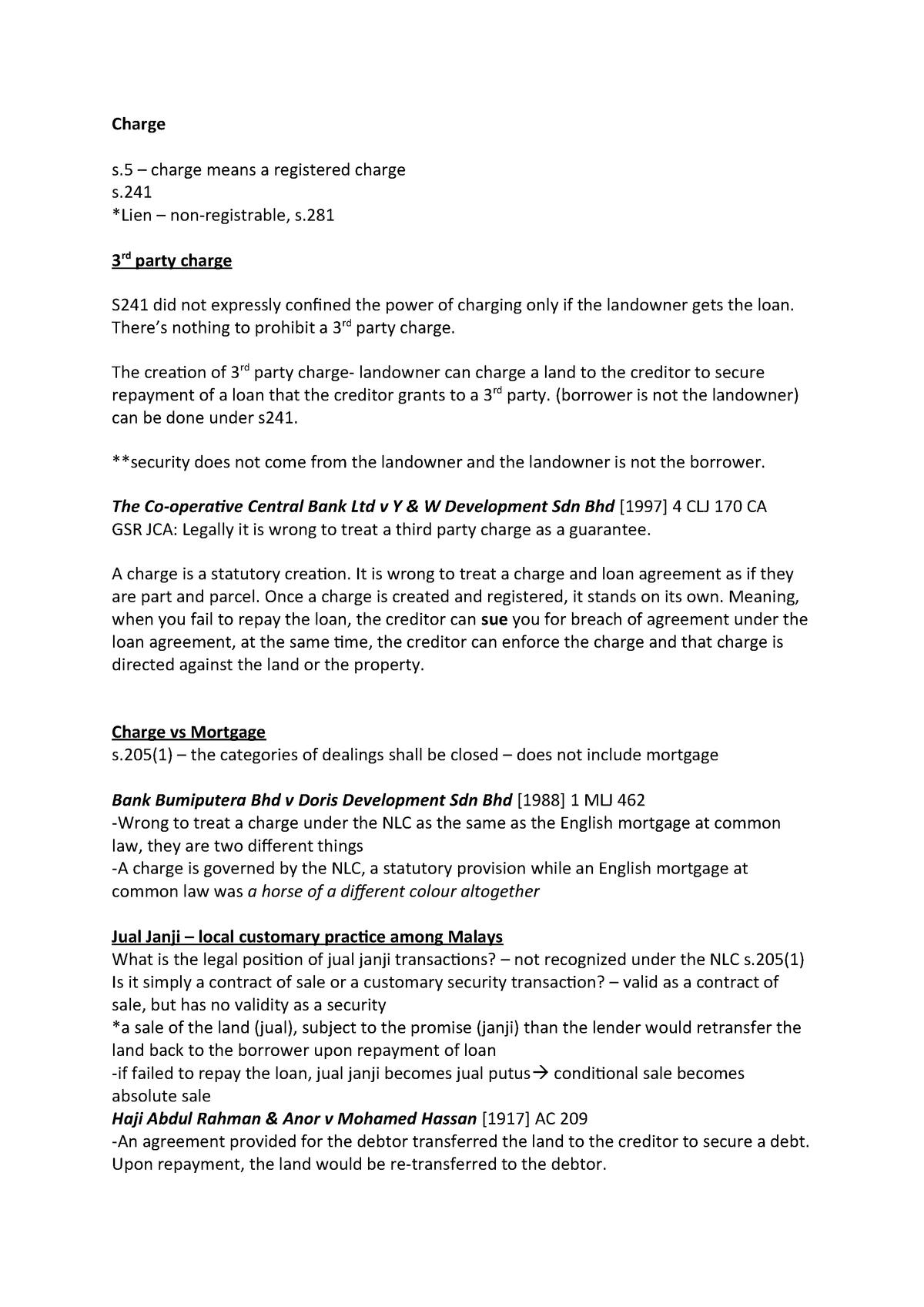 Charge - Summary Land Law II - Land Law II LIA2009 - StuDocu