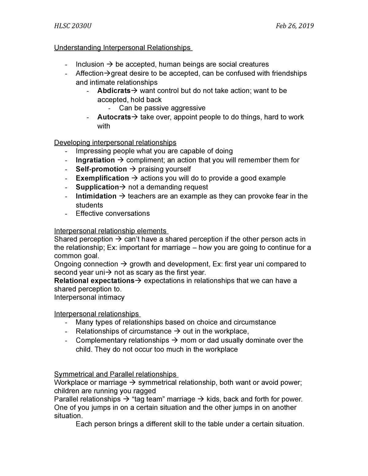 Understanding Interpersonal Relationships - HLSC 2030 - UOIT