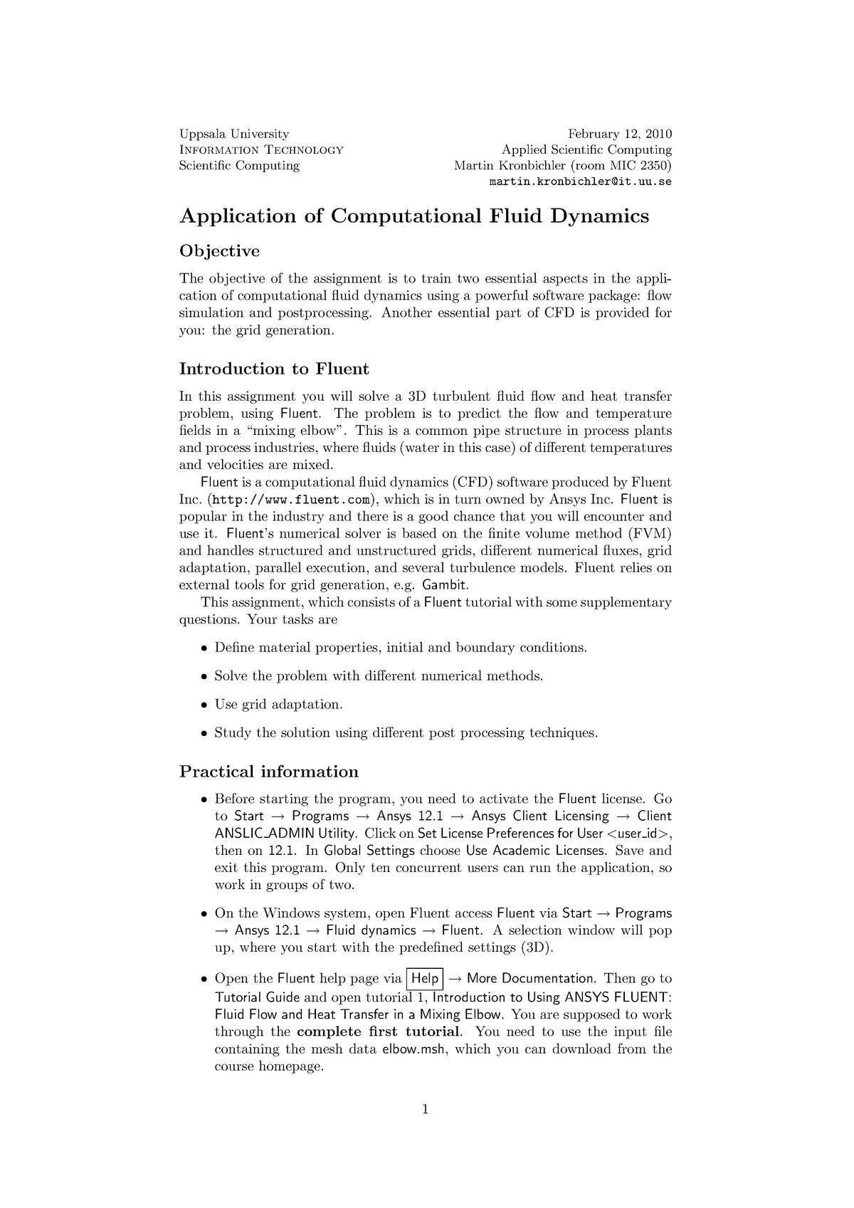 Mandatory Assignment Module 1-3 - Applied Scientific Computing 2010