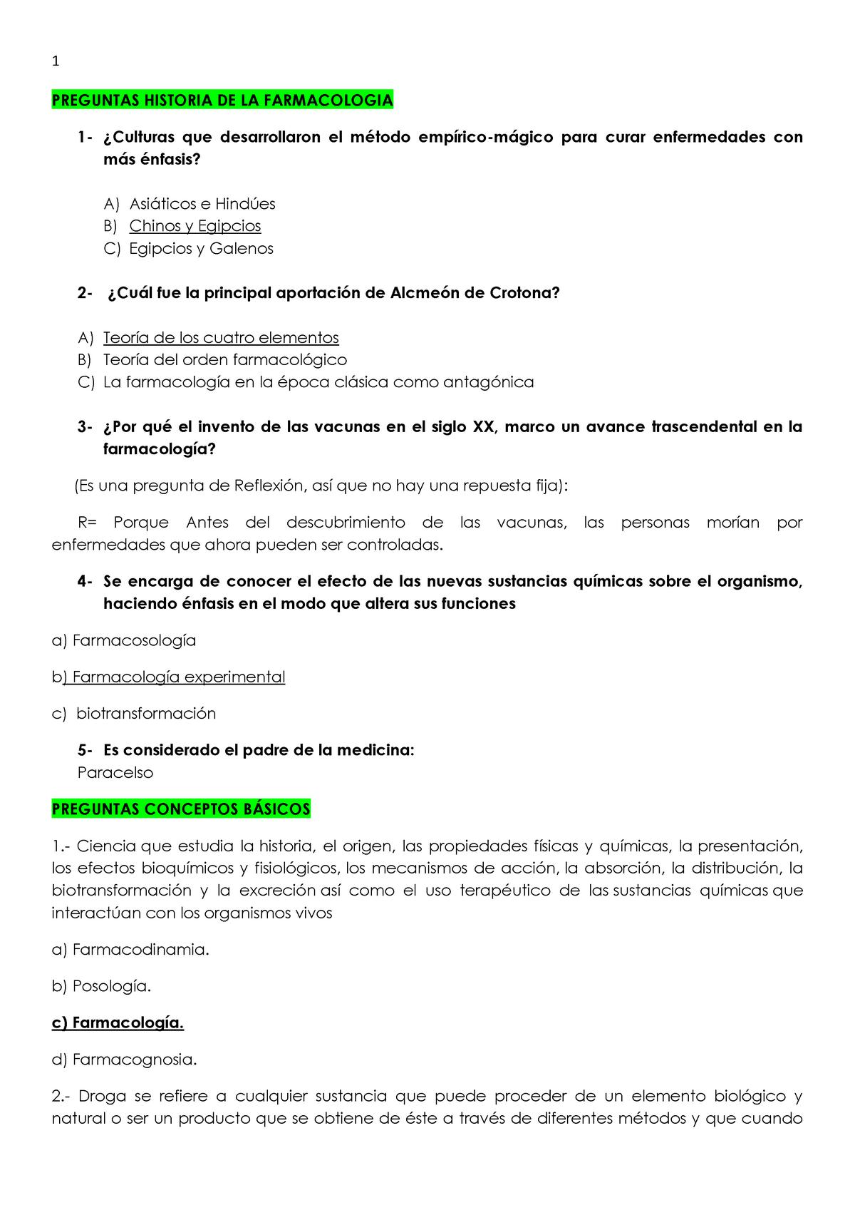 Banco De Preguntas Con Respuestas De La Materia De Farmacologia Basica Studocu