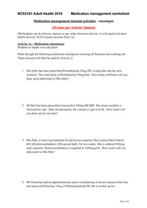 Medication Management Worksheet Oncampus Students Ncs2101 Adult