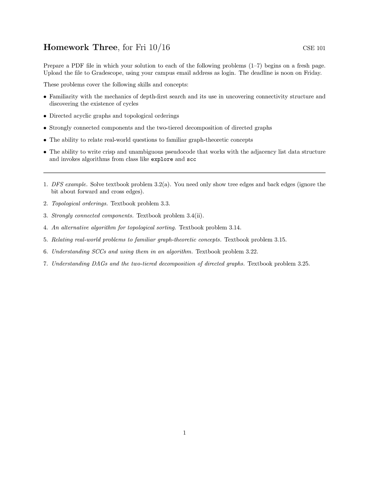 Homework Three - - CSE 101: Algorithms - StuDocu