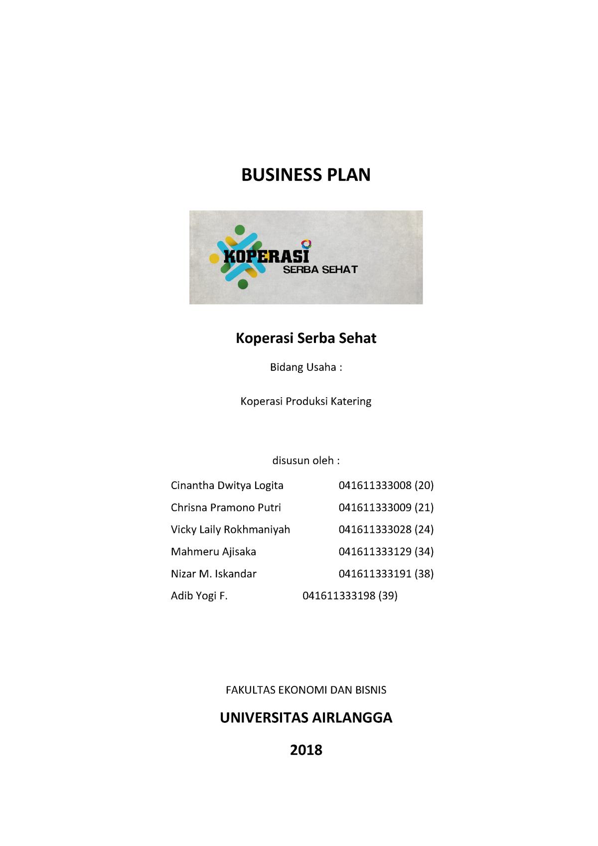 Business Plan Fresh Healthy Food Koperasi Serba Sehat Business Plan Koperasi Studocu