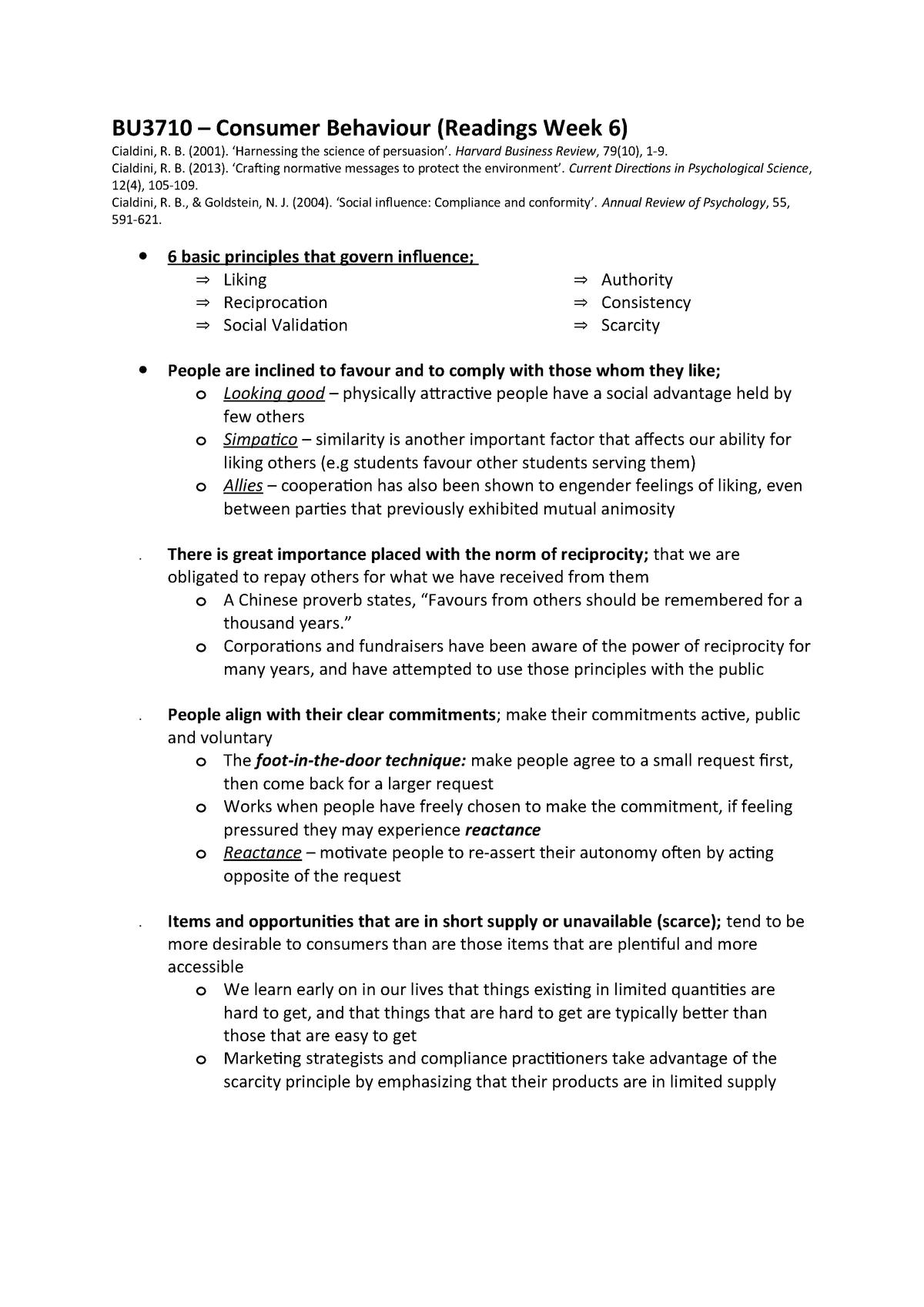 BU3710 - Consumer Behaviour (Readings Week 6) - BU3710