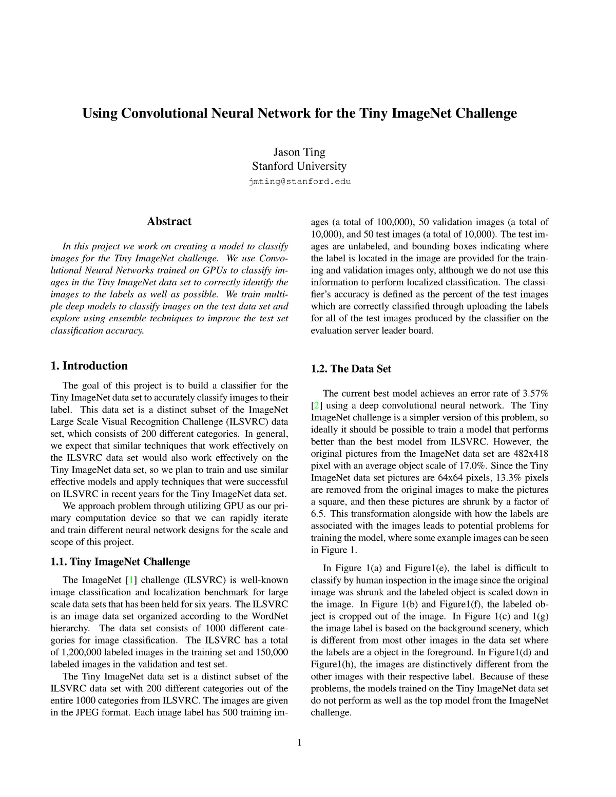 Using convolutional neural network for the tiny imagenet