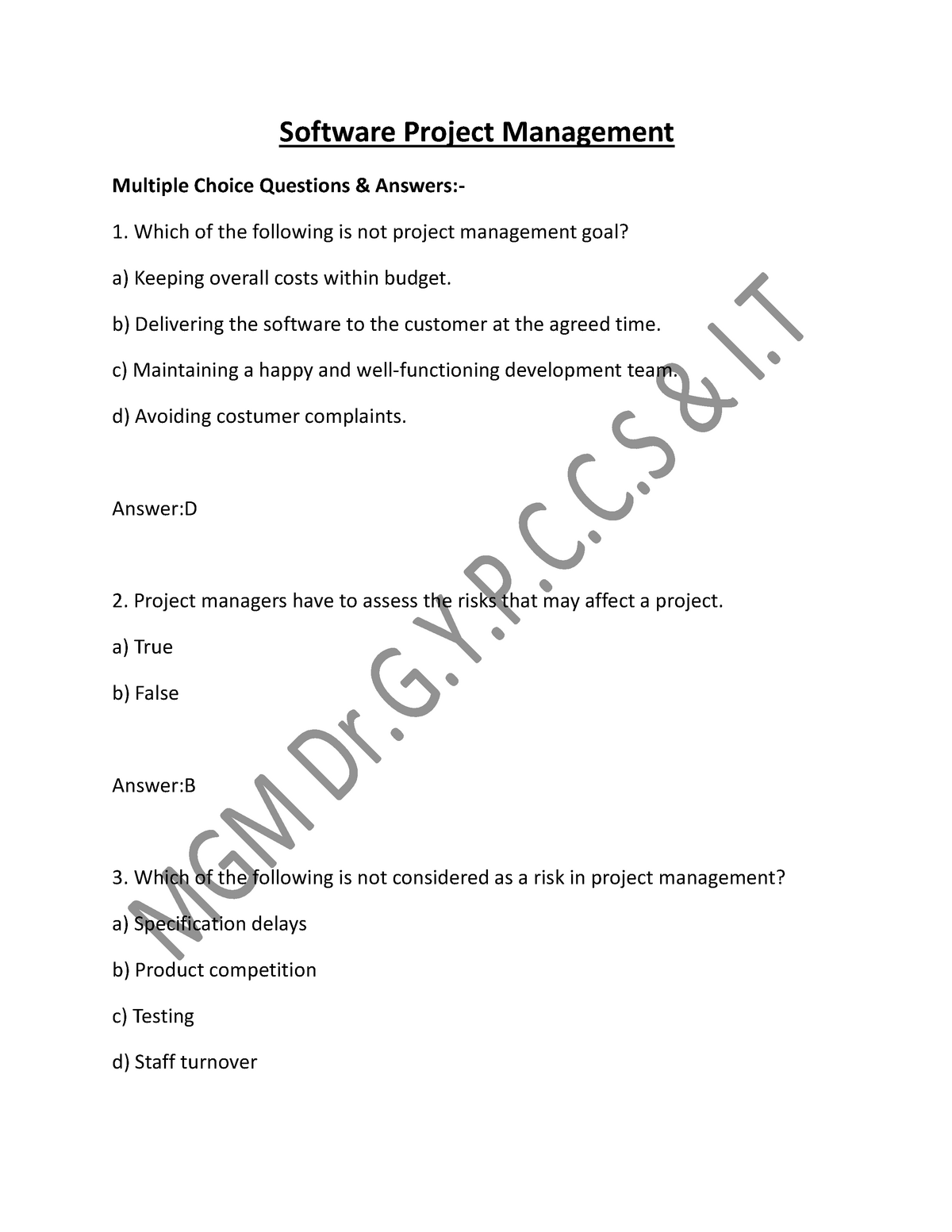 Software Project Management multiple choice - SOEN 6841
