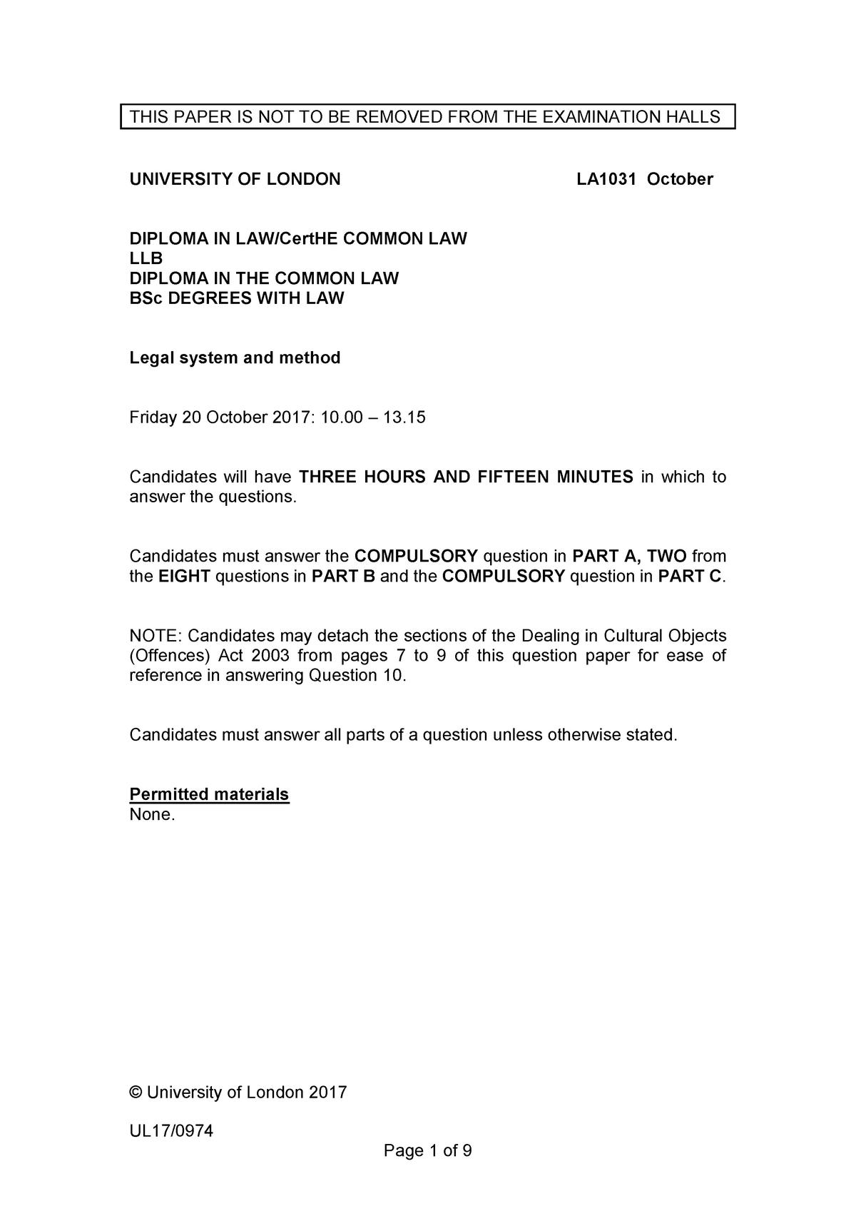 Exam 9 October 2017, questions - LLB - London - StuDocu