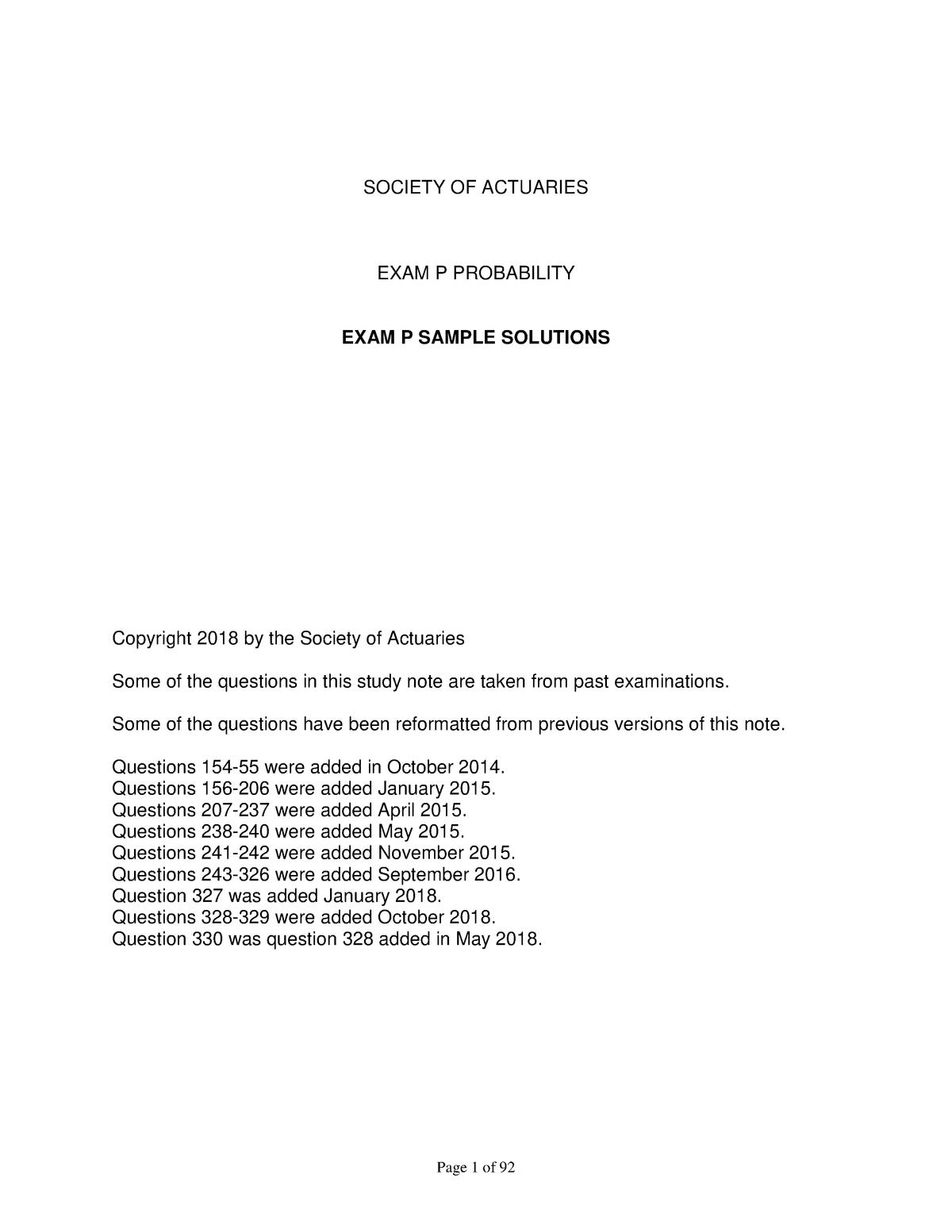 Edu exam p sample sol - Stat 230: Probability - StuDocu