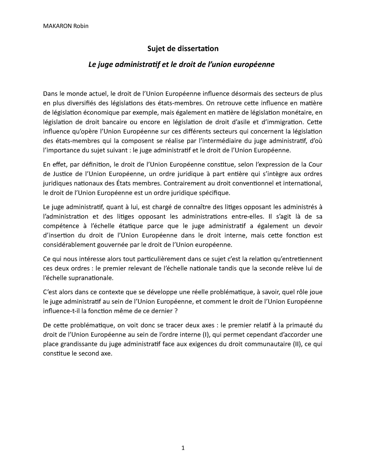 Dissertation en droit administratif