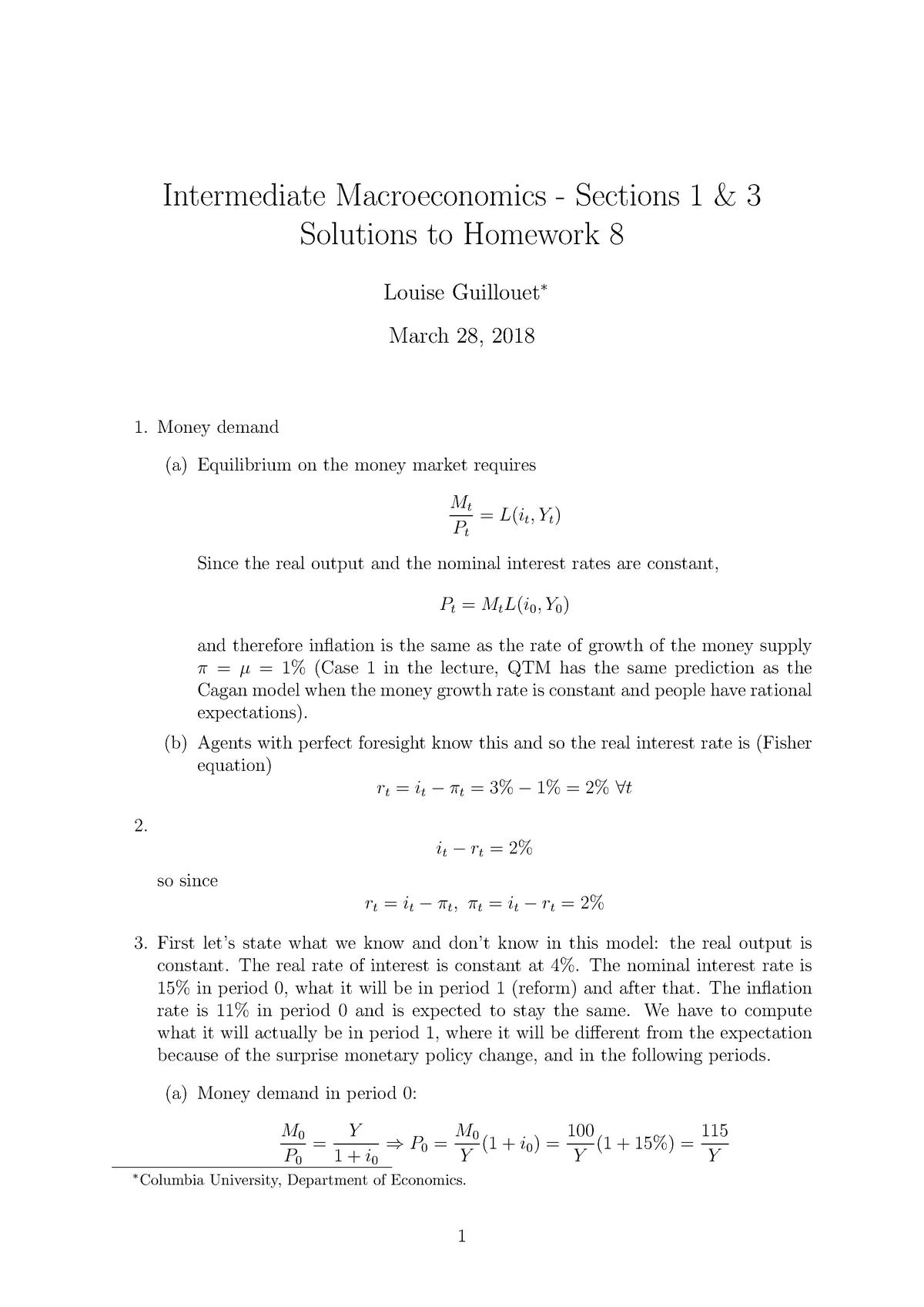 Hwk8 sol - Homework solution - ECON 3213: Intermediate