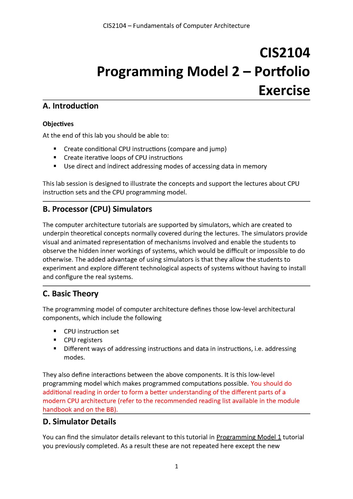 P1 Programming Model 2 Tutorial - CIS2153: Computer Systems